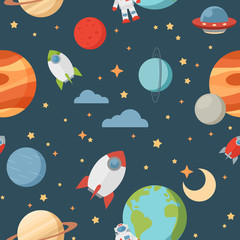 Seamless children cartoon space pattern