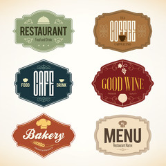 Vintage labels design. Logo set for restaurant and coffee house