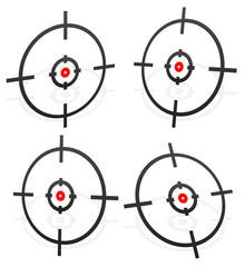 Crosshair, firearm's reticle graphics with red dot, vector. Prec