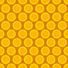 Seamless, repeatable pattern, background with sun shapes.