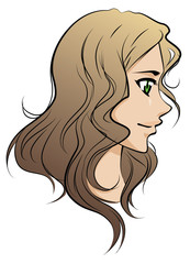 beautiful vector girl with long brown hair