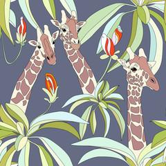 Giraffes in the rainforest,, seamless wallpaper