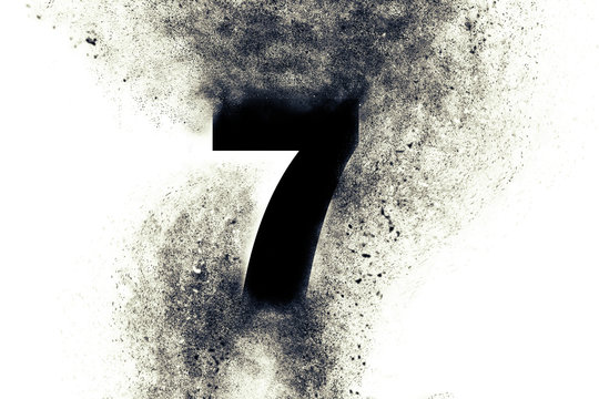 Character Number 7 seven with particles on absrtact background
