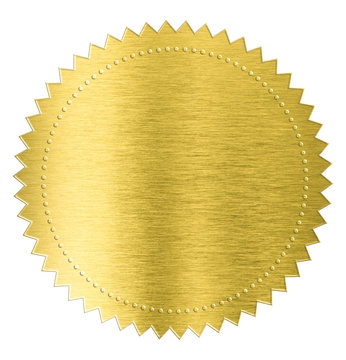 gold metal foil sticker seal label isolated with clipping path