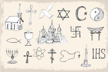 Set of trendy vector religion elements