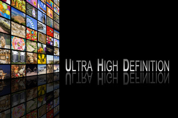 Concept of Ultra High Definition TV on black background