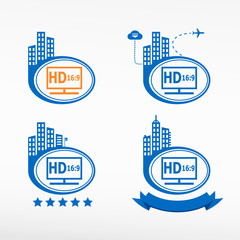 HD display icon on city background.