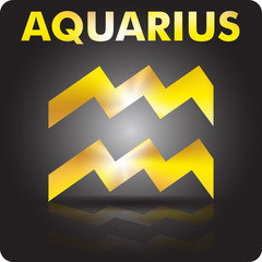 Astrology. Aquaries. Astrological sign from gold.