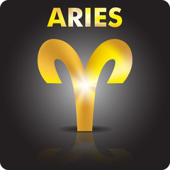Astrology. Aries. Astrological sign from gold.