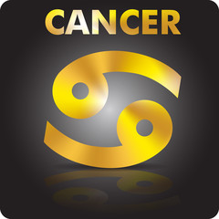 Astrology. Cancer. Astrological sign from gold.