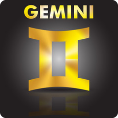 Astrology. Gemini. Astrological sign from gold.