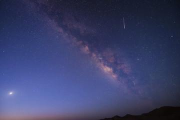 Milky Way and Meteor in Sahara Desert,
