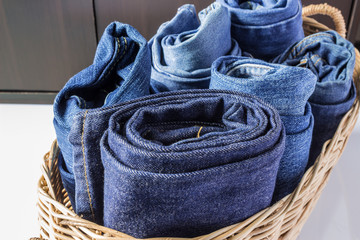Jeans in the basket