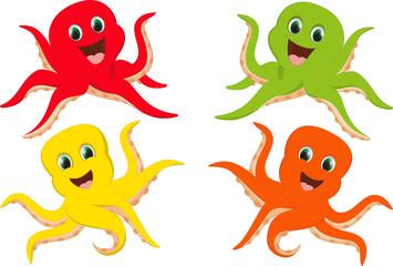 happy colorful octopus cartoon