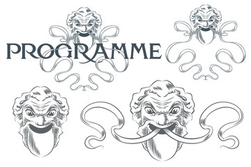 Vector illustration. Set for the design of the theater