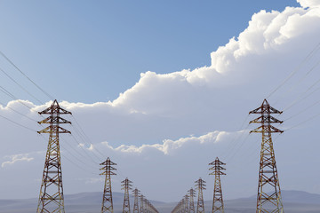 High Voltage Electric Poles under Blue Cloudy Sky 3D artwork ill