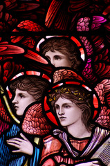 Fototapete - Three angels in stained glass