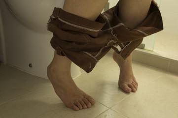 woman toilet lavatory peeing urinate short leg concept