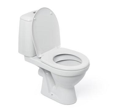 Open toilet bowl isolated on white background.