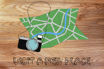 travel industry: camera and map illustration