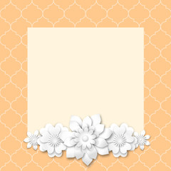 yellow image frame with white 3d flowers