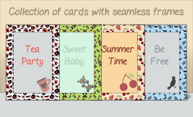 Collection of Card postcards Frames Made of Seamless Patterns.