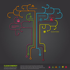 Clean energy flat infographic diagram template design in tree sh