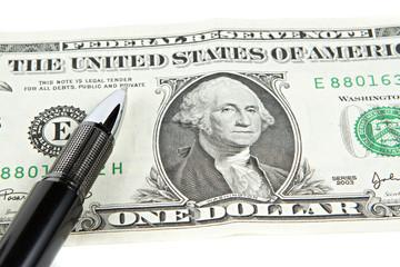Dollar with black pen