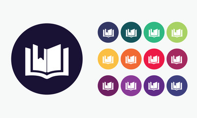 Book with bookmark icon set