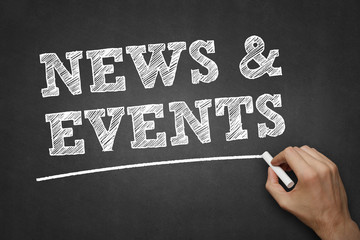 news and events - chalk on blackboard