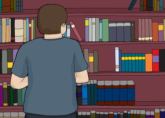 Man Looking at Large Bookshelf