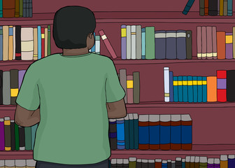 Black Man Looking at Shelves