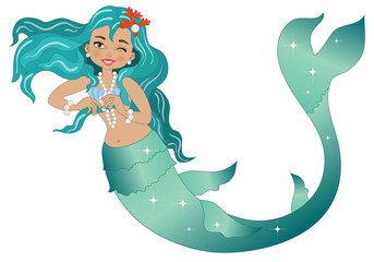 Mermaid on White Background