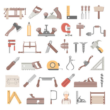 Flat Icons - Traditional Woodworking Tools
