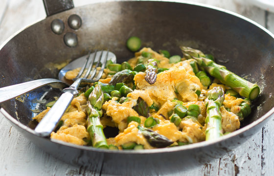 Green asparagus with egg in a frying pan.