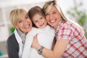 happy grandma, mother and daughter