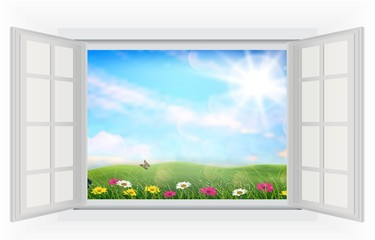 Open window of beautiful summer with flowers