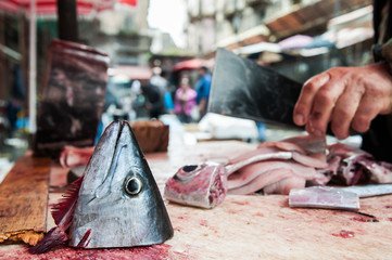 Cut head of a tuna in Catania fish market