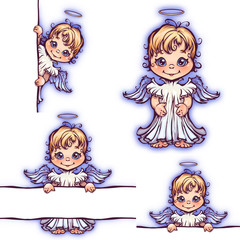 Vector set of cute angel with panel for text