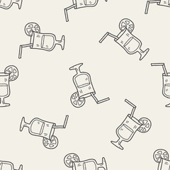cocktail doodle seamless pattern background