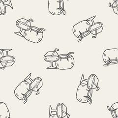 coconut drink doodle seamless pattern background