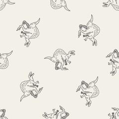 Spinosaurus dinosaur doodle seamless pattern background