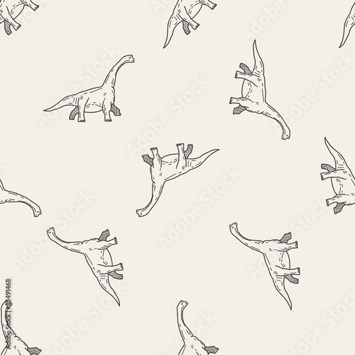 Brontosaurus dinosaur doodle seamless pattern background
