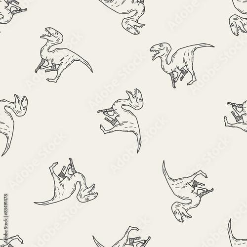 dinosaur doodle seamless pattern background
