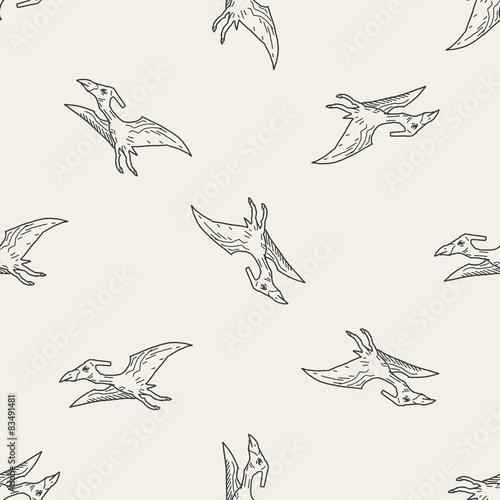 Pterodactyl dinosaur doodle seamless pattern background