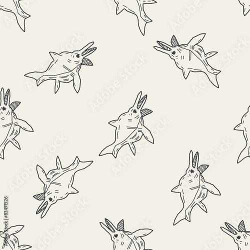 fish dinosaur doodle seamless pattern background