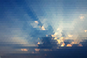 Abstract Beautiful Light Of Sun In Clouds Before Evening Geometric Triangular Low Poly. Vector Illustration