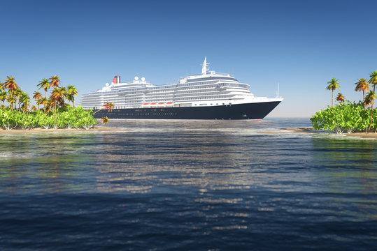 Cruise ship and tropical island