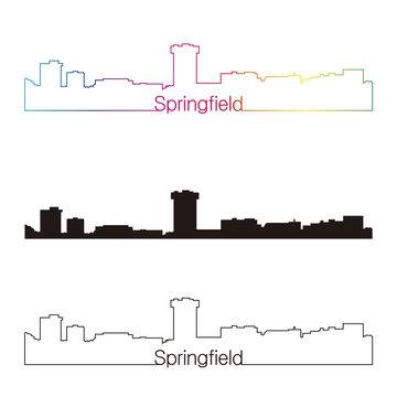 Springfield MO skyline linear style with rainbow