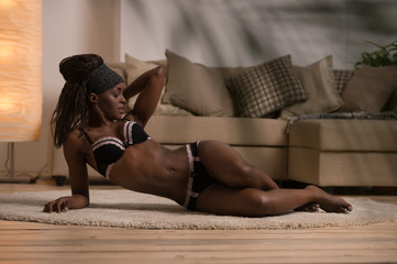 Beautiful alluring african woman in sexy lingerie